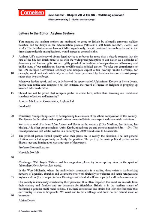 """Klausurvorschlag (Baden-Württemberg): """"Letters to the Editor: Asylum Seekers"""" - Leistungsmessung, Test, Prüfung - zu Lehrwerken - Webshop-Download"""