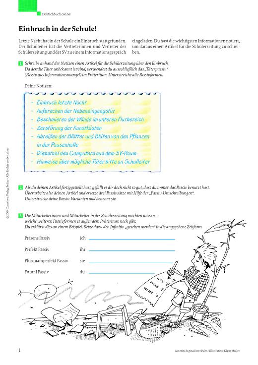 Deutschbuch Gymnasium - Schreibübung: Aktiv/Passiv - Leistungsmessung, Test, Prüfung - zu Lehrwerken - 7. Schuljahr