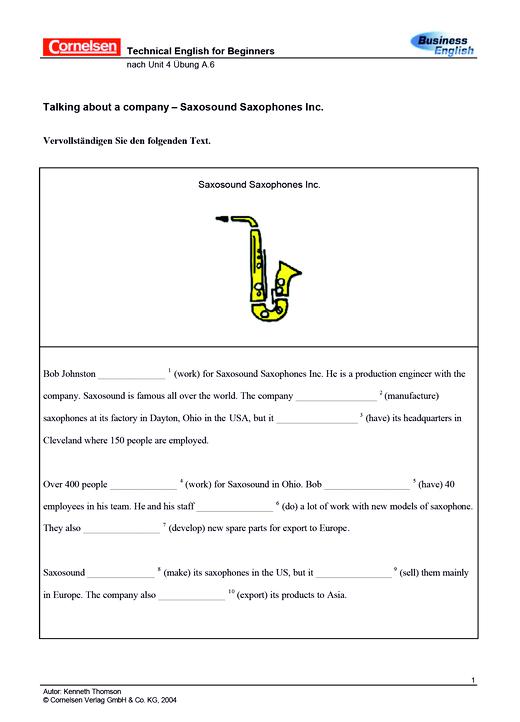 Talking about a company – Saxosound Saxophones Inc. - Arbeitsblatt - Webshop-Download