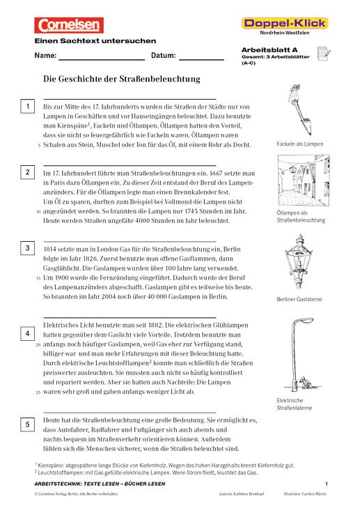 """Doppel-Klick - Einen Sachtext untersuchen """"Die Geschichte der Straßenbeleuchtung"""" - Arbeitsblatt - 6. Schuljahr"""