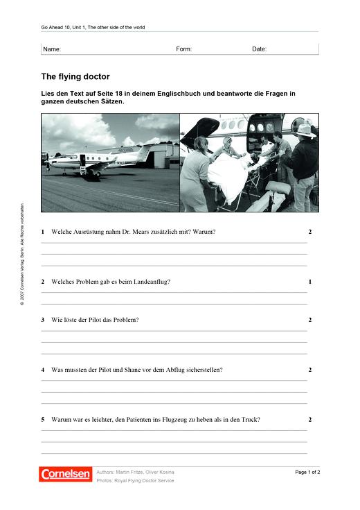 Mathefreunde - The flying doctor - Arbeitsblatt - 10. Jahrgangsstufe