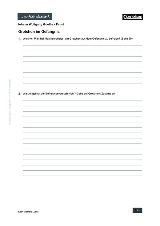 Einfach klassisch - Einfach klassisch: Faust - Gretchen im Gefängnis - Arbeitsblatt - Webshop-Download