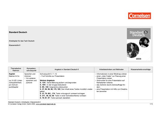 Standard Deutsch - Arbeitsplan für Standard Deutsch 6 - Stoffverteilungsplan - 6. Schuljahr