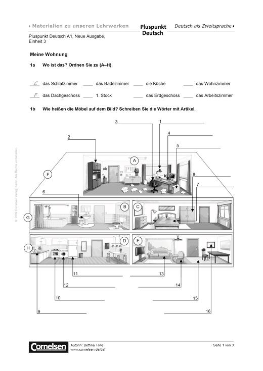 Pluspunkt Deutsch - Pluspunkt Deutsch Neue Ausgabe, Band A1, Lektion 3: Meine Wohnung - Arbeitsblatt - Webshop-Download