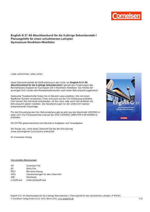 English G 21 - Planungshilfe für einen schuleigenen Lehrplan Gymnasium Nordrhein-Westfalen - Abschlussband 5: 9. Schuljahr - 5-jährige Sekundarstufe I