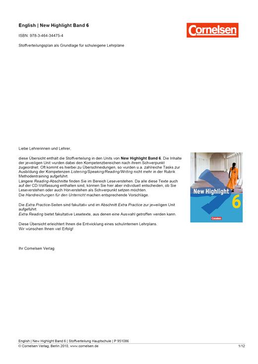 New Highlight - Allgemeine Fassung - Planungshilfe - Band 6: 10. Schuljahr