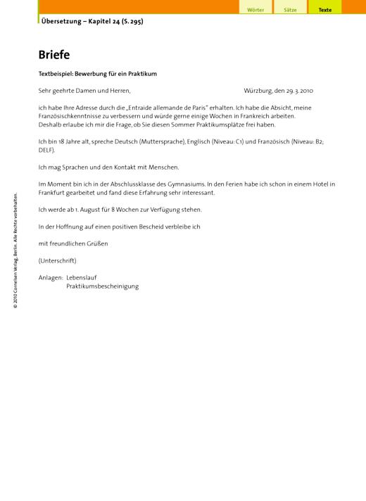 Übersetzung (24.10 Briefe, Bewerbung für ein Praktikum) - Arbeitsblatt