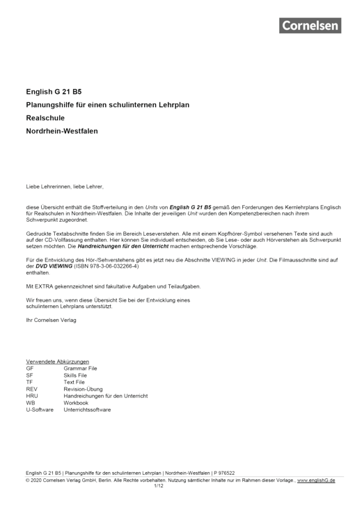 English G 21 - Planungshilfe für einen schulinternen Lehrplan Realschule Nordrhein-Westfalen - Band 5: 9. Schuljahr