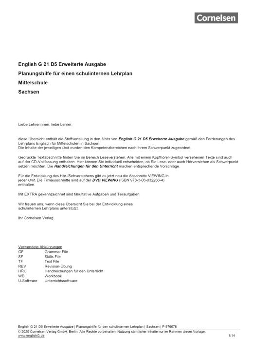 English G 21 - Planungshilfe für Sachsen - Mittelschule - Band 5: 9. Schuljahr