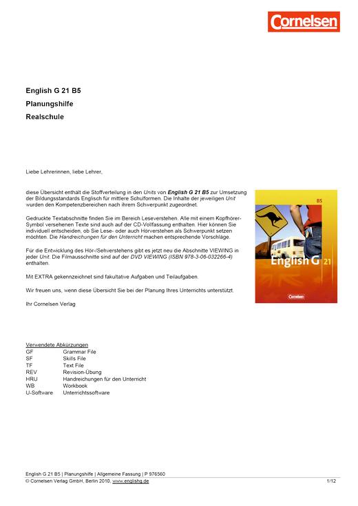 English G 21 - Planungshilfe - Band 5: 9. Schuljahr