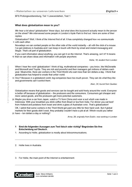 BFS Prüfungsvorbereitung, Teil 1 Leseverstehen, Text 1, Worksheet 5 - Arbeitsblatt