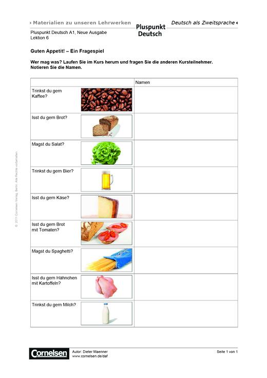 Pluspunkt Deutsch - Pluspunkt Deutsch Neue Ausgabe, Band A1, Lektion 6: Guten Appetit! Ein Fragespiel - Arbeitsblatt - Webshop-Download