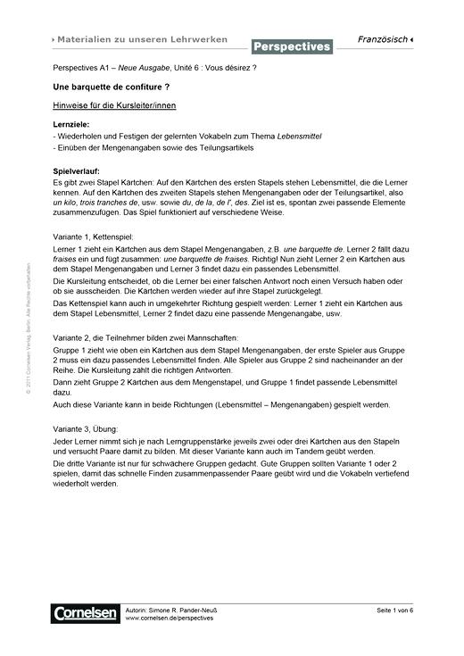 Perspectives - Perspectives A1 – Neue Ausgabe, Unité 6 : Une barquette de confiture? - Arbeitsblatt - A1