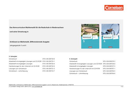 Schlüssel zur Mathematik - Synopse Schlüssel zur Mathematik, Differenzierende Ausgabe 5 und 6 Realschule Niedersachsen - Synopse