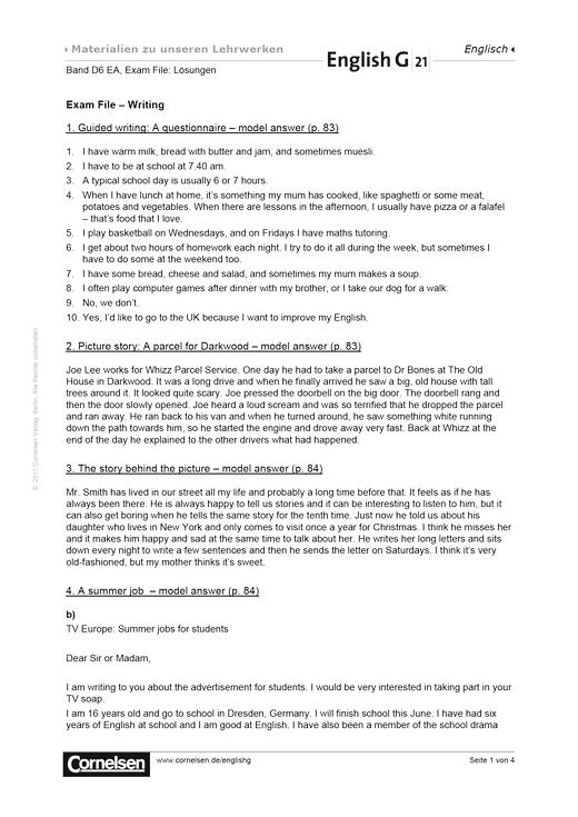 English G 21 - Exam File: Writing - Lösungen - Band 6: 10. Schuljahr