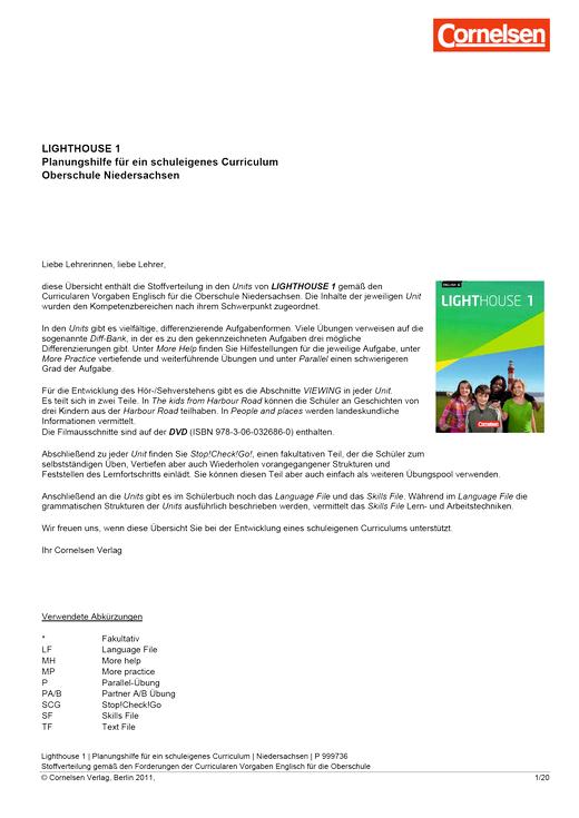 English G Lighthouse - Planungshilfe für die Oberschule Niedersachsen - Band 1: 5. Schuljahr