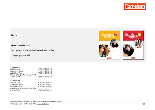Stoffverteilungsplan für Nordrhein-Westfalen und seine Umsetzung in Standard Deutsch Band 7/8 - Stoffverteilungsplan