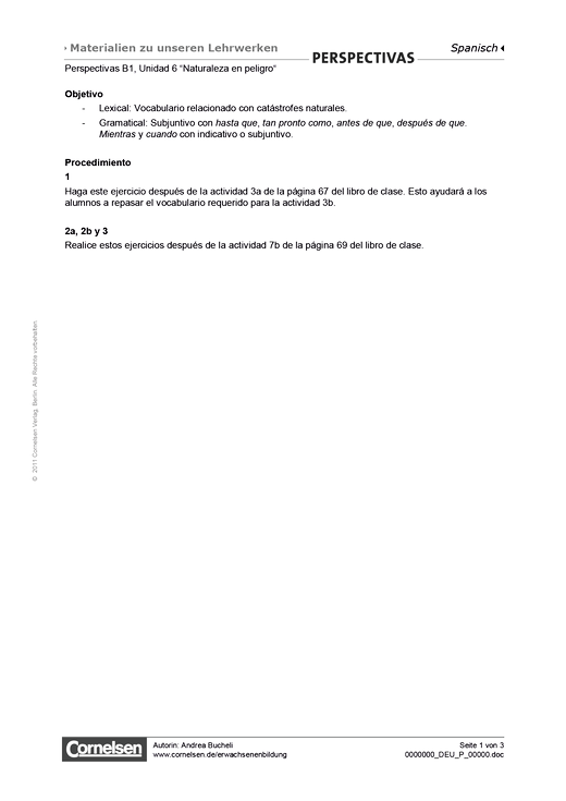 Perspectivas B1: Unidad 6: Naturaleza en peligro - Arbeitsblatt - Webshop-Download