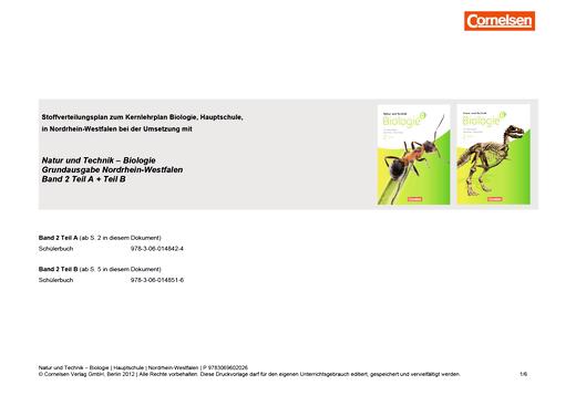 Natur und Technik - Biologie (Ausgabe 2011) - Stoffverteilungsplan für die Hauptschule - Gesamtband 2 A/B