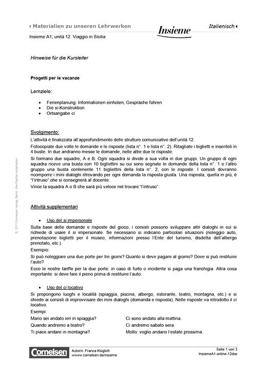 Progetti per le vacanze - Arbeitsblatt - Webshop-Download