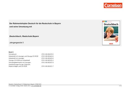 Deutschbuch - Deutschbuch 5 - Jahresplaner Bayern - Synopse - 5. Jahrgangsstufe