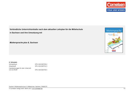 Stoffverteilungsplan für Sachsen - Synopse - Webshop-Download