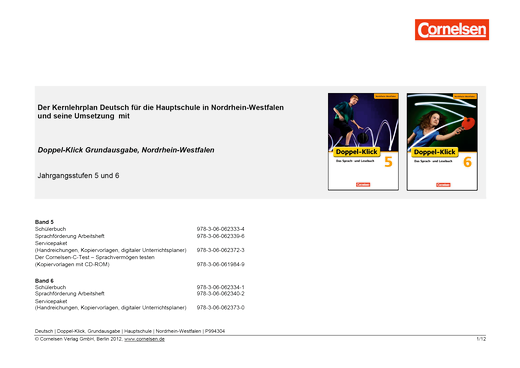 Doppel-Klick Grundausgabe 5 und 6 / Jahresplaner für die Hauptschule in Nordrhein-Westfalen - Synopse - Webshop-Download