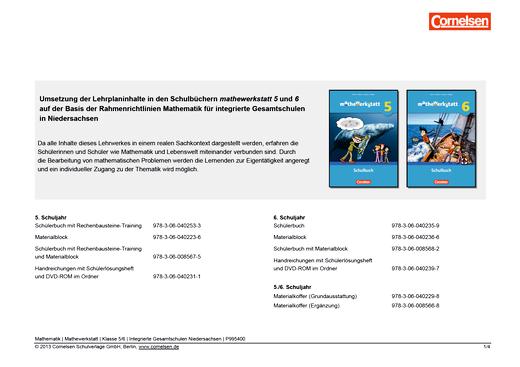 Mathewerkstatt - Synopse Mathewerkstatt 5/6 Gesamtschule Nieders. - Synopse - 5./6. Schuljahr
