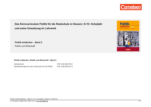 Politik entdecken - Synopse zu Politik entdecken (Hessen), Band 2 - Synopse - Band 2: 9./10. Schuljahr
