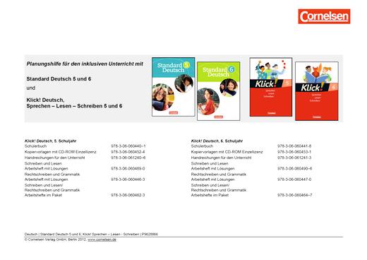 Planungshilfe für den inklusiven Unterricht zu Standard Deutsch - Synopse