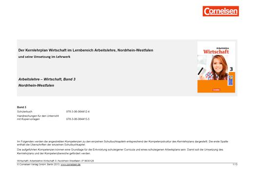 """Wirtschaft - Planungshilfe zu Arbeitslehre – """"Wirtschaft"""" (NRW), Band 3: ab Klasse 9 - Planungshilfe - Band 3"""