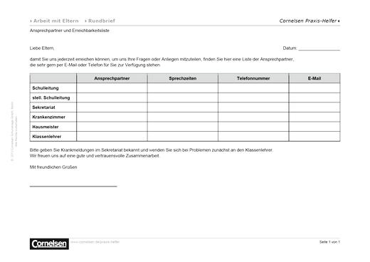 Ansprechpartner und Erreichbarkeitsliste - Editierbare Kopiervorlage