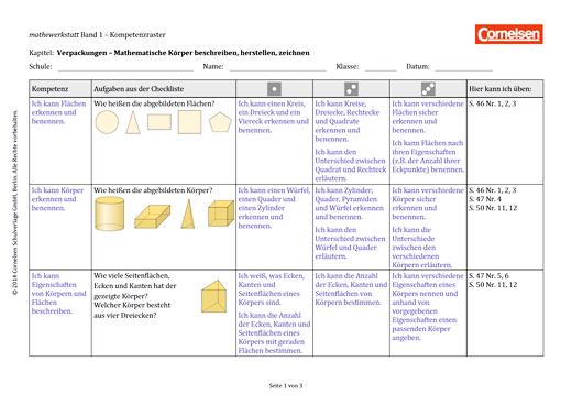 Mathewerkstatt - Kompetenzraster Mathewerkstatt 1 - Kompetenzverteilung - Band 1