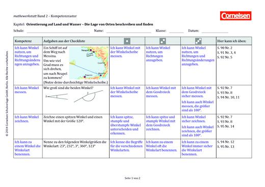 Mathewerkstatt - Kompetenzraster Mathewerkstatt 2 - Kompetenzverteilung