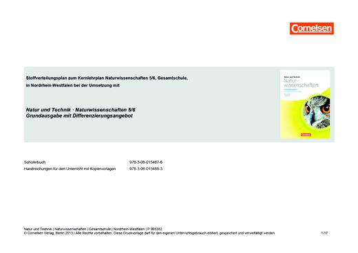Natur und Technik - Naturwissenschaften: Grundausgabe mit Differenzierungsangebot - Der neue Kernlehrplan Naturwissenschaften (Gesamtschule) für Nordrhein-Westfalen - Stoffverteilungsplan - 5./6. Schuljahr