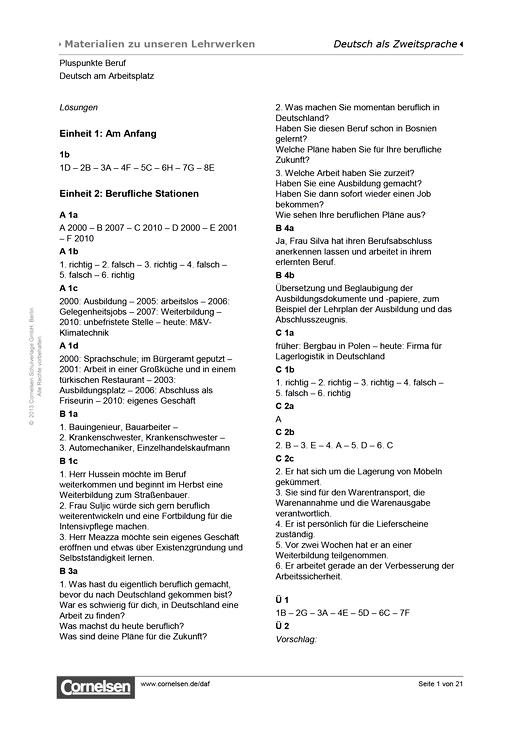 Pluspunkte Beruf - Lösungen, Deutsch am Arbeitsplatz - Lösungen - A2-B1+