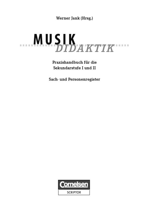 Fachdidaktik - Register zur Musik-Didaktik [5., überarbeitete Auflage] - Register
