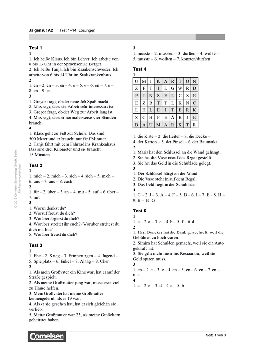 Ja genau! A2 Test 1-14: Lösungen - Lösungen