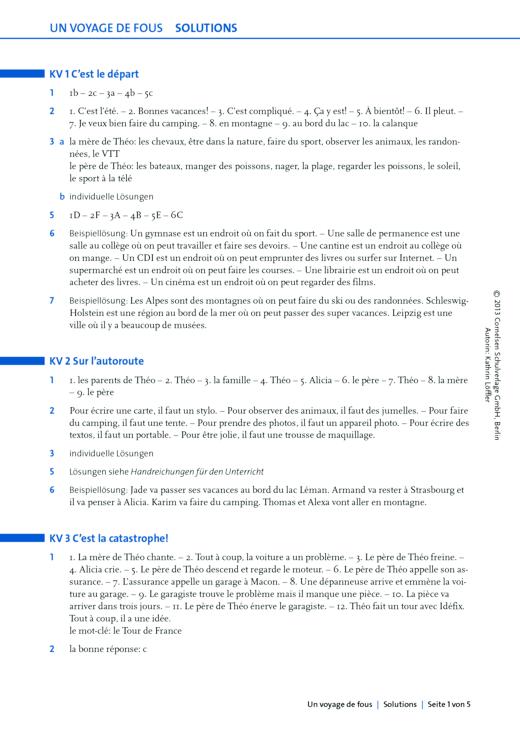 """À plus ! - """"Un voyage de fous"""" Lösungen zu den Arbeitsblättern - Lösungen - Band 1"""