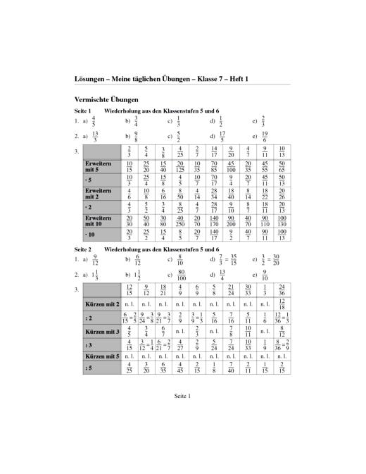 """Lösungsheft """"Meine täglichen Übungen in Mathematik 7/8"""", Hefte 1,2 als Download - Lösungen"""