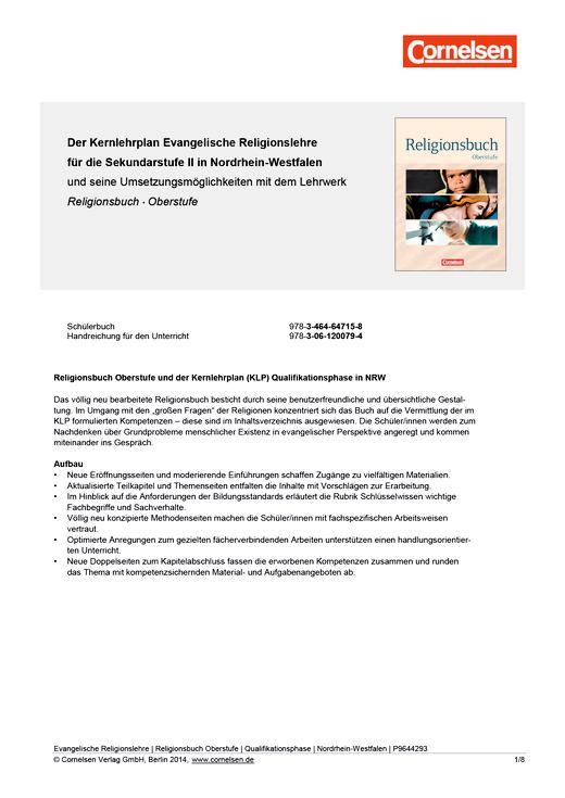 Religionsbuch - Religionsbuch Oberstufe - Vorschlag für ein schulinternes Curriculum für die Qualifikationsphase in NRW - Synopse