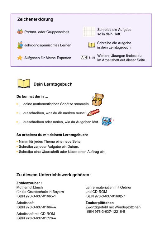 Zahlenzauber - Zahlenzauber 1 Zeichenerklärung - Didaktische Fachinfo - 1. Jahrgangsstufe