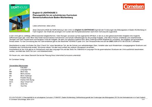 English G Lighthouse - Planungshilfe für Baden-Württemberg - Band 3: 7. Schuljahr