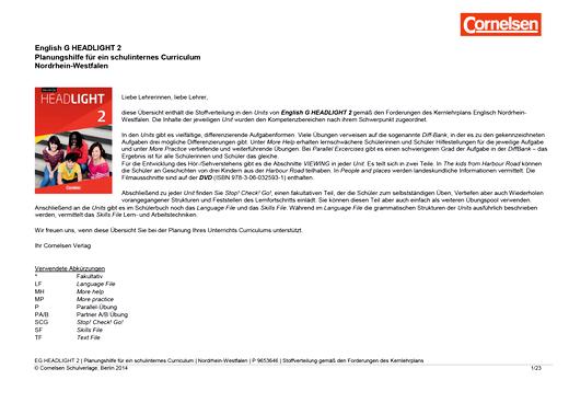 English G Headlight - English G Headlight 2 – Planungshilfe Nordrhein-Westfalen - Stoffverteilungsplan - Band 2: 6. Schuljahr