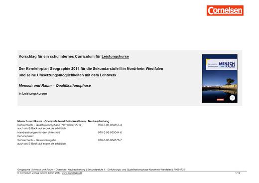 Mensch und Raum - Synopse für den Leistungskurs in Nordrhein-Westfalen - Qualifikationsphase