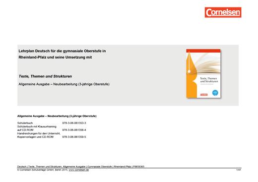 Texte, Themen und Strukturen - Synopse für Rheinland-Pfalz