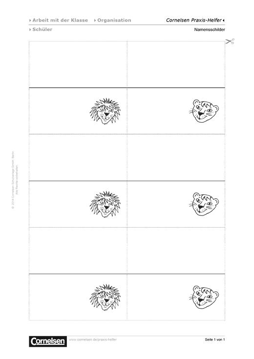 Namensschilder für die Klasse - Editierbare Kopiervorlage