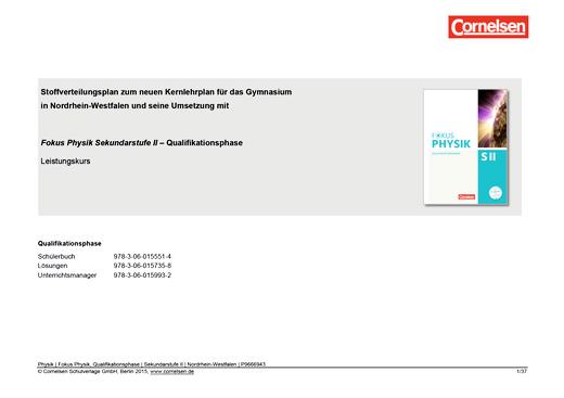 Fokus Physik Sekundarstufe II - Fokus Physik SII Qualifikationsphase für NRW | Planungshilfe für ein schulinternes Curriculum (Sekundarstufe II NRW LK) - Stoffverteilungsplan - Qualifikationsphase