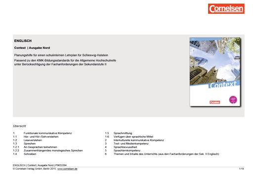 Context - Planungshilfe für ein schulinternes Curriculum (Schleswig-Holstein)
