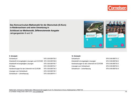 Synopse Schlüssel zur Mathematik, Differenzierende Ausgabe 9 und 10 G-Kurs für Niedersachsen - Synopse